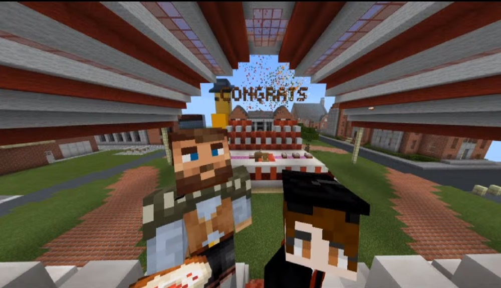 Student avatars celebrate their achievements at the end of the virtual Minecraft commencement ceremony.