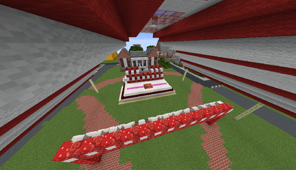 A Minecraft version of the tent on the WPI Quad where Commencement is usually held.
