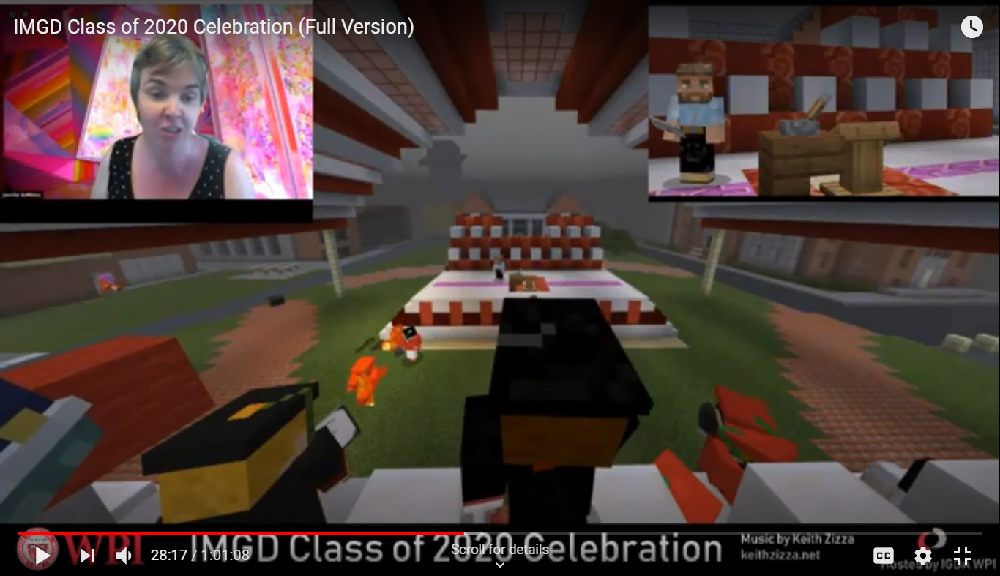Student avatars battle natural disasters during their commencement ceremony.