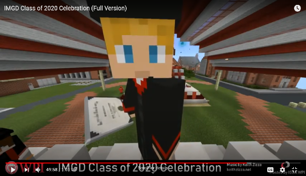 A student showcases his diploma at the end of the virtual Minecraft ceremony.