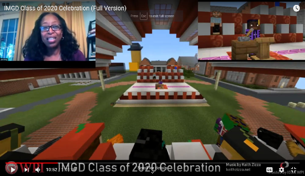Jean King watches the Minecraft virtual commencement ceremony for IMGD graduates.