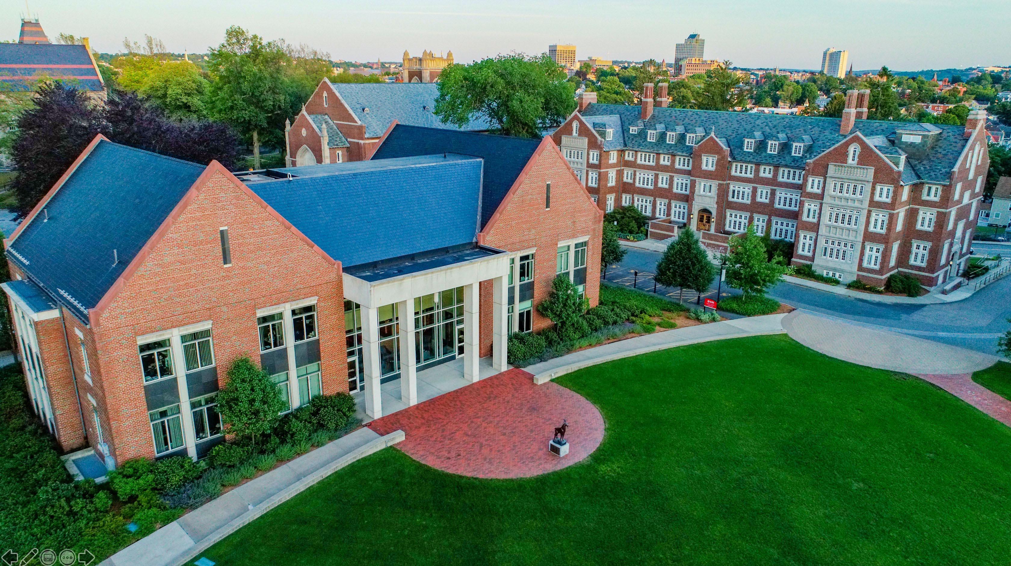 WPI campus aerial photo