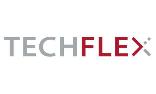 The TechFlex logo, written in grey and red, against a white background.