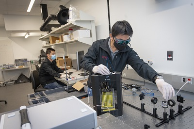 Researchers in the Zhang laboratory. alt