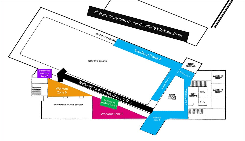 A diagram of new layouts in the Sports & Recreation Center.