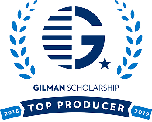 Badge for being a Gilman Scholar Top Producer