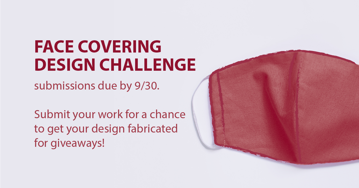 A graphic of a red face covering against a white background with information on the Face Covering Design Challenge.