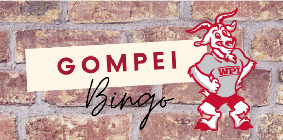 """A Gompei cartoon set against a faux brick background with """"Gompei Bingo"""" written in red and black lettering."""