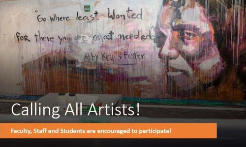 Mural painted on wall with text Calling All Artists!