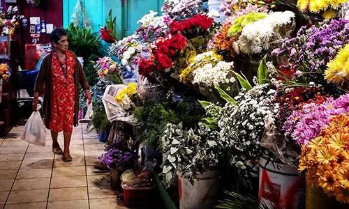 Woman walking by beautiful flowers at a market in Latin America