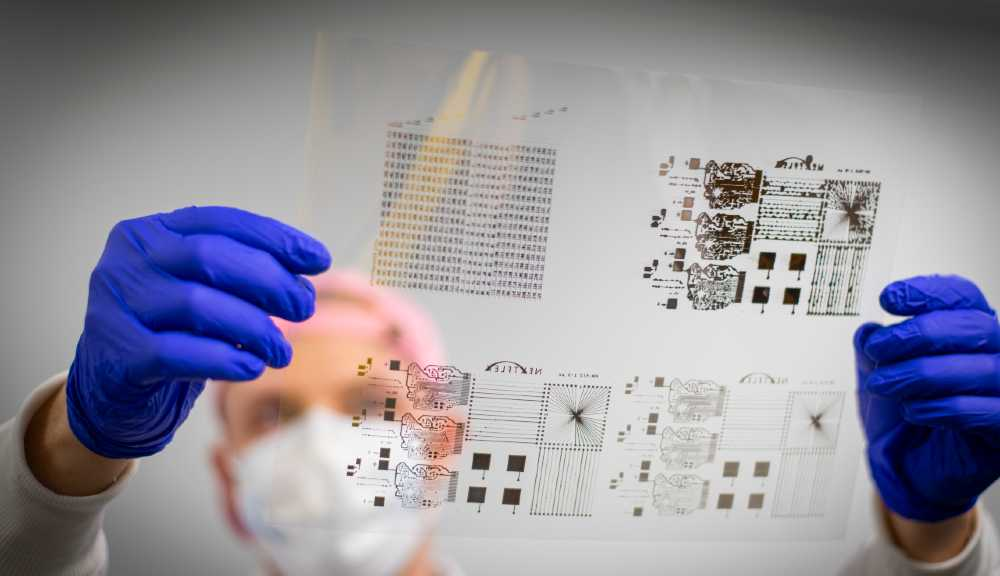 A researcher holds up a transparent slide while wearing gloves and a face covering.