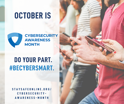 Do Your Part #Be Cyber Smart - image of people using smart phones