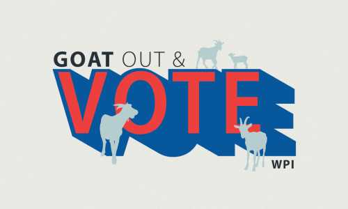 """A graphic of """"Get out the Vote"""" with several goat silhouettes around it."""