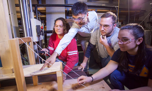WPI Students working with a faculty member - Project-based Learning