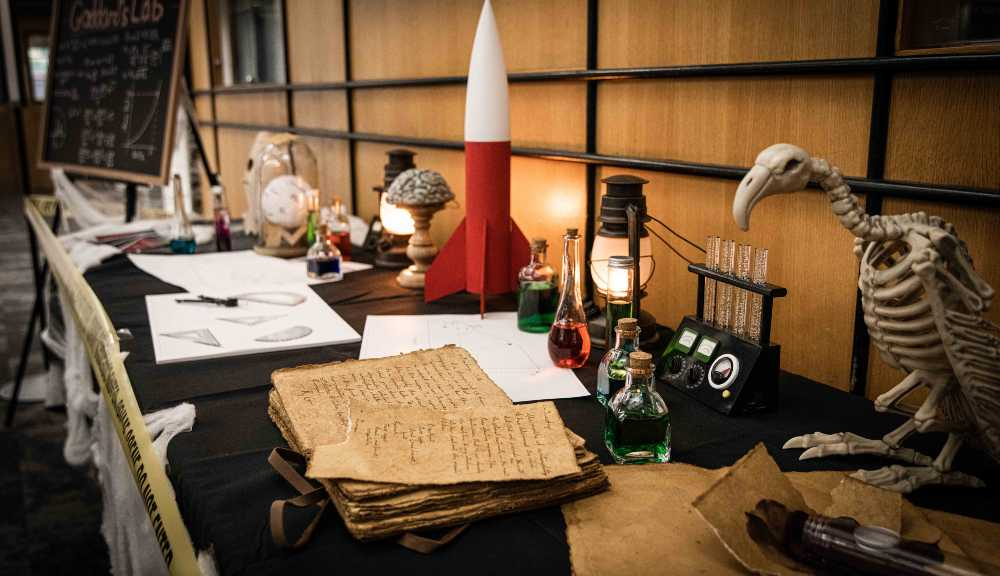 A shot of multiple spooky objects on a table as part of the Haunted Higgins event.