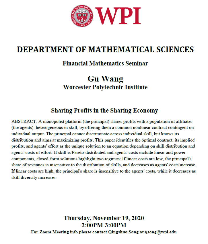 Financial Math Seminar Gu Wang