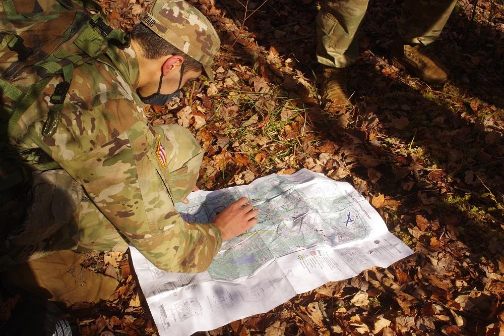 Cadet Omar Ayoub reads a map