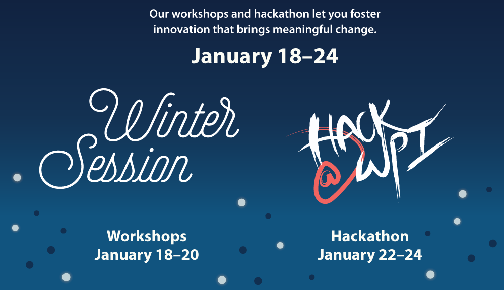 WinterSession and Hack@WPI logos on deep blue background