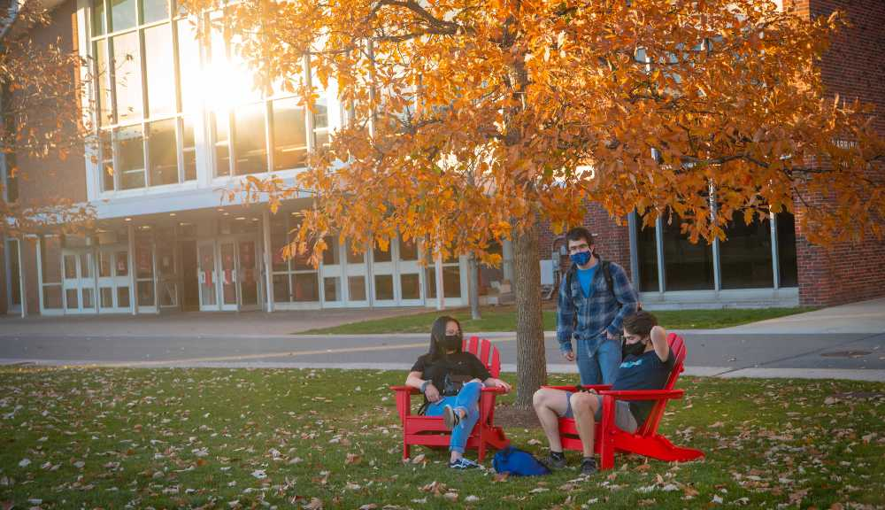 Three students gather at Adirondack chairs under a tree on the Quad.