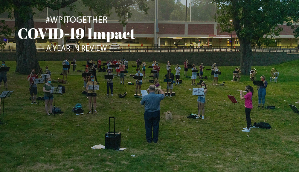 A student band practices outside