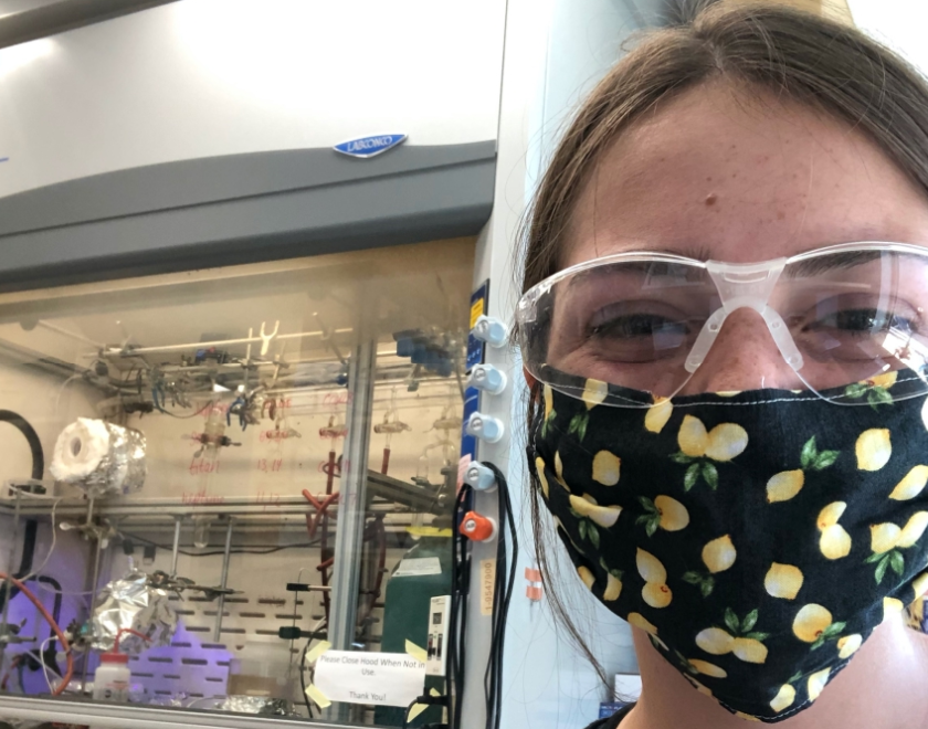 Chemistry student does her work in the lab she has been working at since freshman year