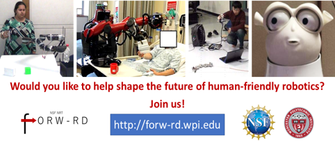4 different graphics of robotics - Would you like to help shape the future of human-friendly robotics? Join us!