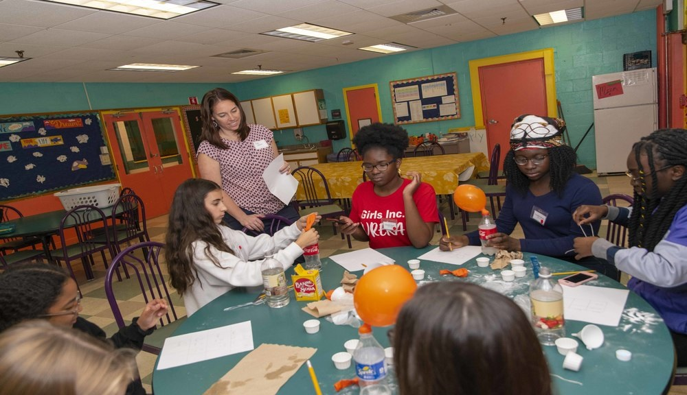 "Students in the TPP work with local organizations such as Girls Inc. to develop lessons that sometimes take shape as a fun community activity, like ""Spooky Science,"" pictured here."