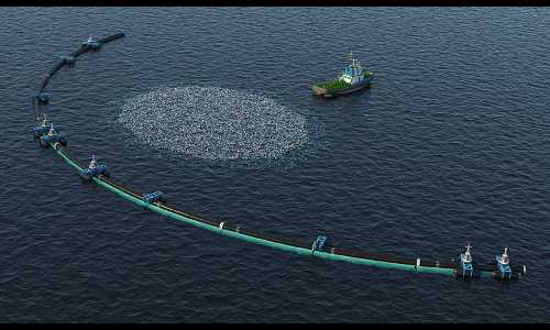 An aerial photo of a ship collecting marine plastics from the ocean.