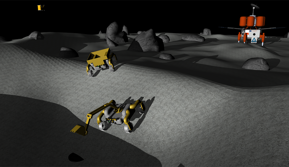 The excavator robot (foreground) prepares to place a lunar sample in the hauler robot to transport to the processing plant (orange).  alt