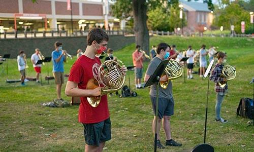 WPI band outside social distanced