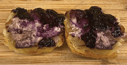 A pastry with Blueberry Lemon Goat Cheese