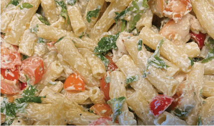 Pasta with tomatoes, basil, and goat cheese