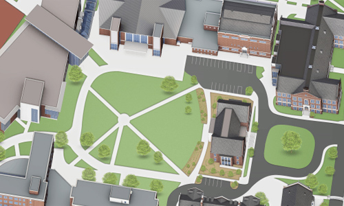 Campus map of quad and surrounding buildings