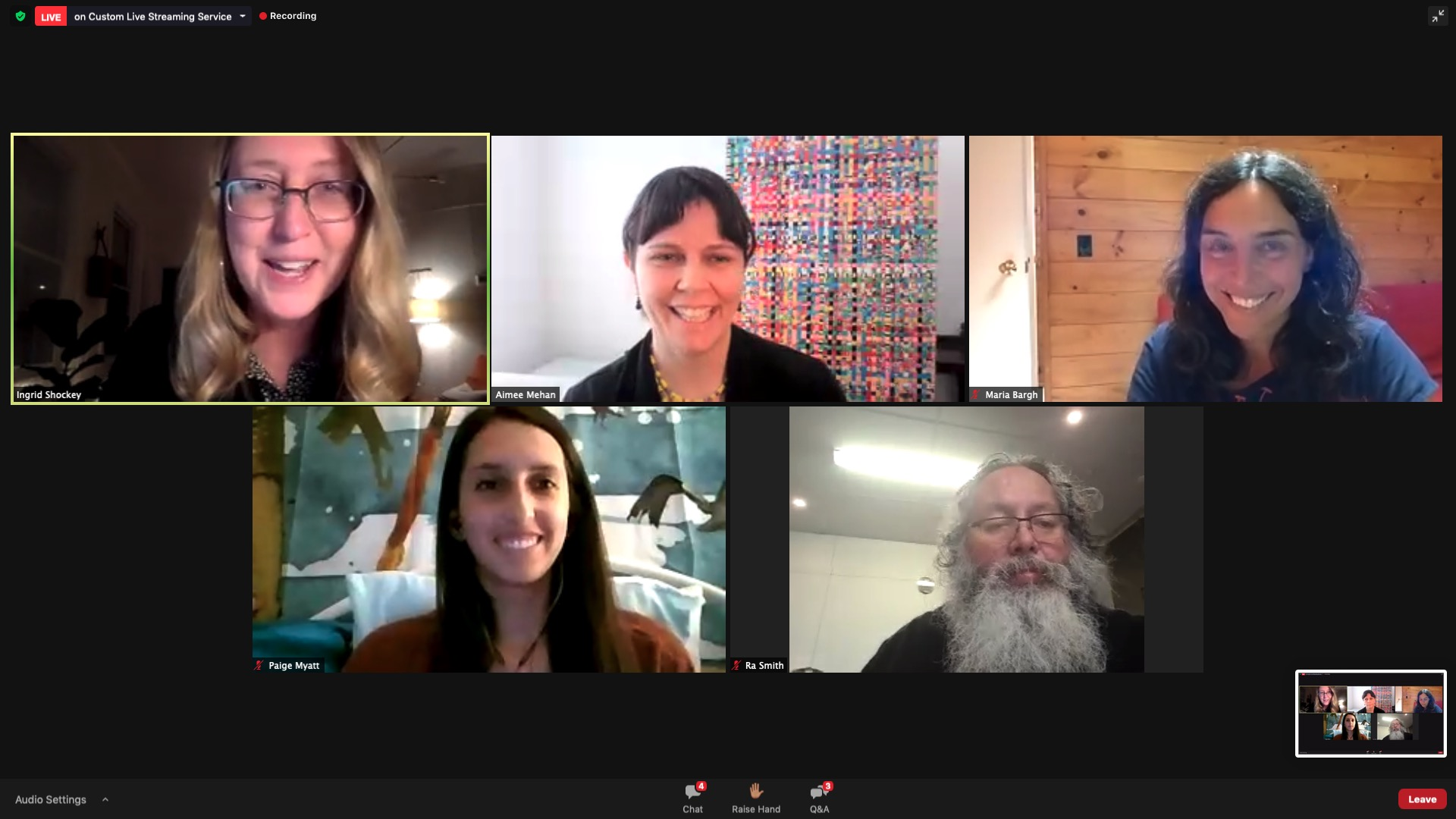 Panelists: Ingrid Shockey, Aimee Mehan, Maria Bargh, Paige Myatt, Ra Smith alt