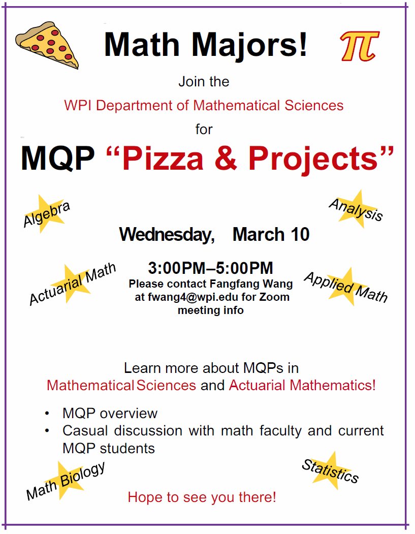 Mathematical Sciences MQP Pizza & Projects