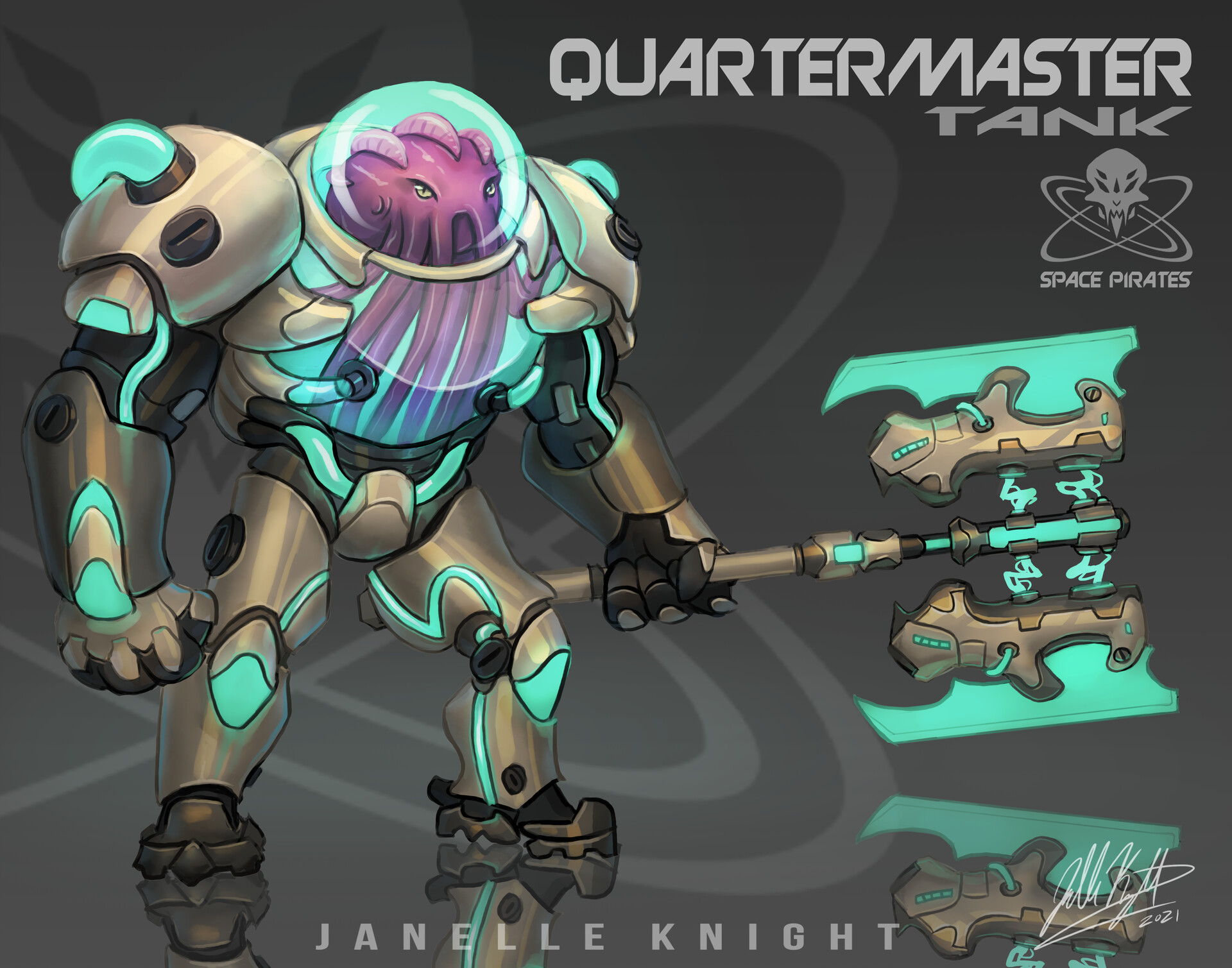 Quartermaster Space Pirates Character concept art