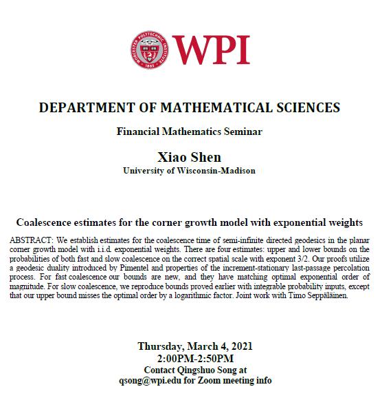 Financial Math Seminar Xiao Shen