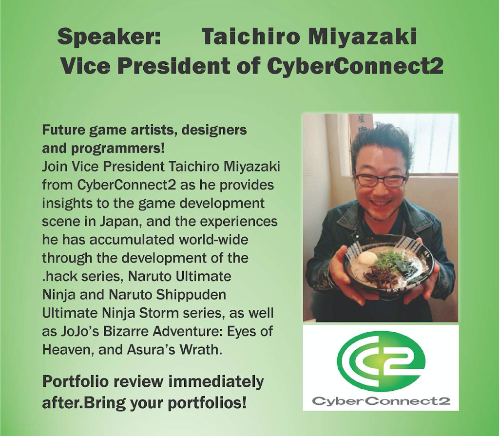 CyberConnect2 speaker event flyer