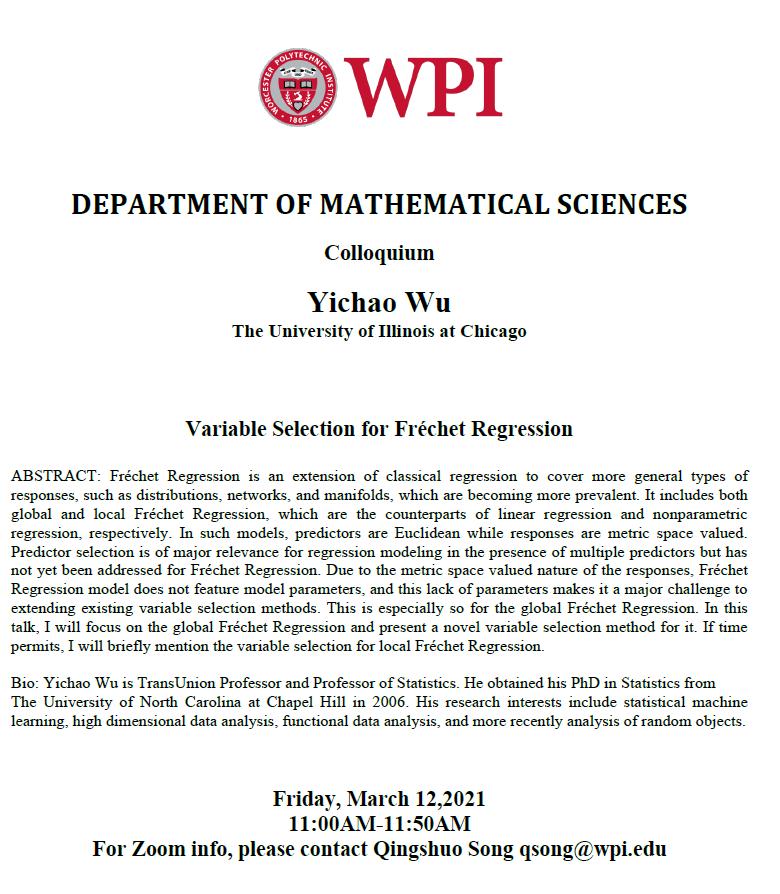 Colloquium Math Yichao Wu