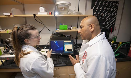 WPI faculty member and student in neuroscience lab