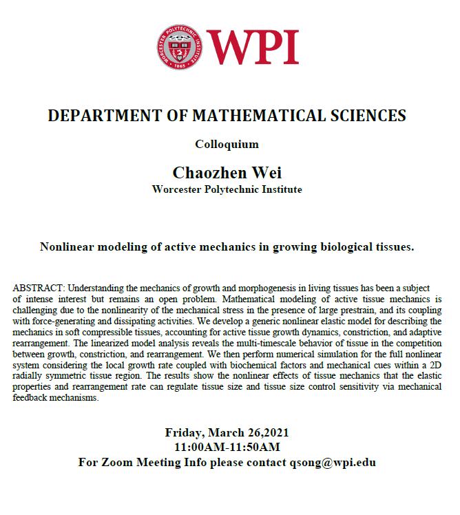 Math Colloquium Chaozhen Wei