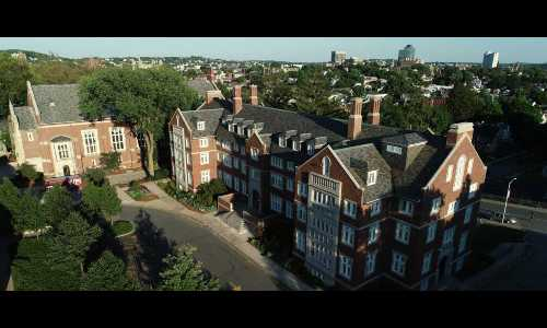 An aerial photo of Riley Hall, the oldest residence hall on WPI's campus.