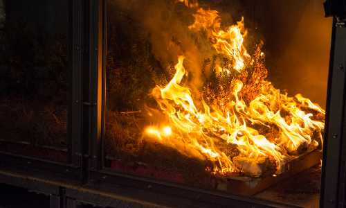 A close-up photo of a controlled fire in WPI's fire protection engineering lab.