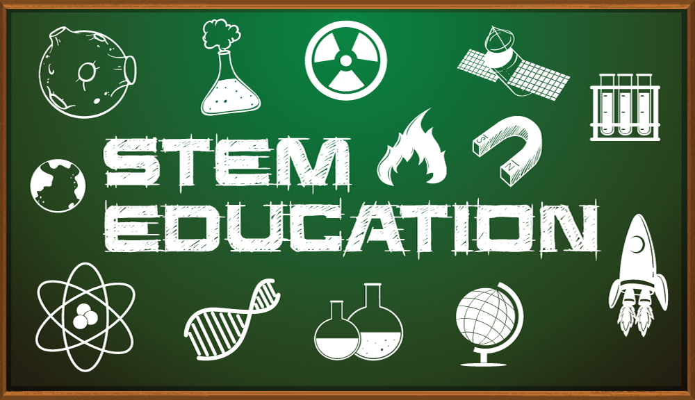 An illustration of a classroom blackboard with the words, STEM Education.