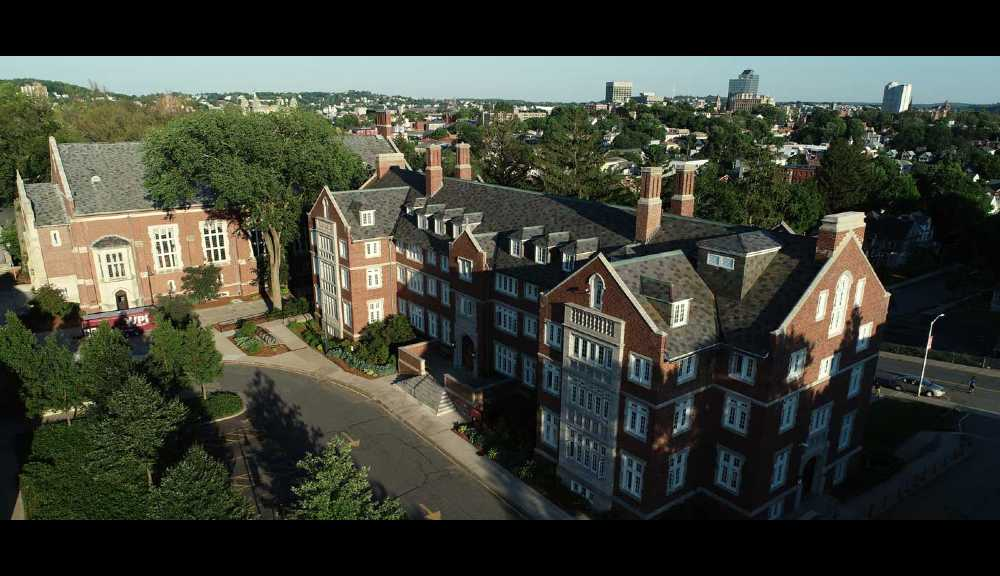 An aerial view of Riley Hall.