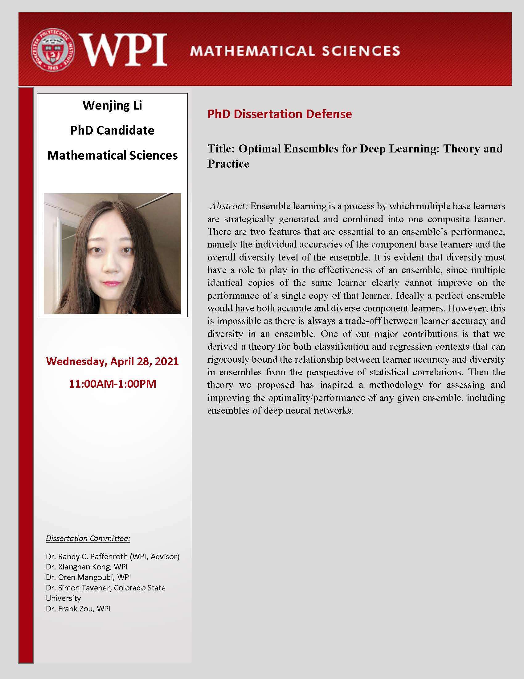 Dissertation Defense Wenjing Li
