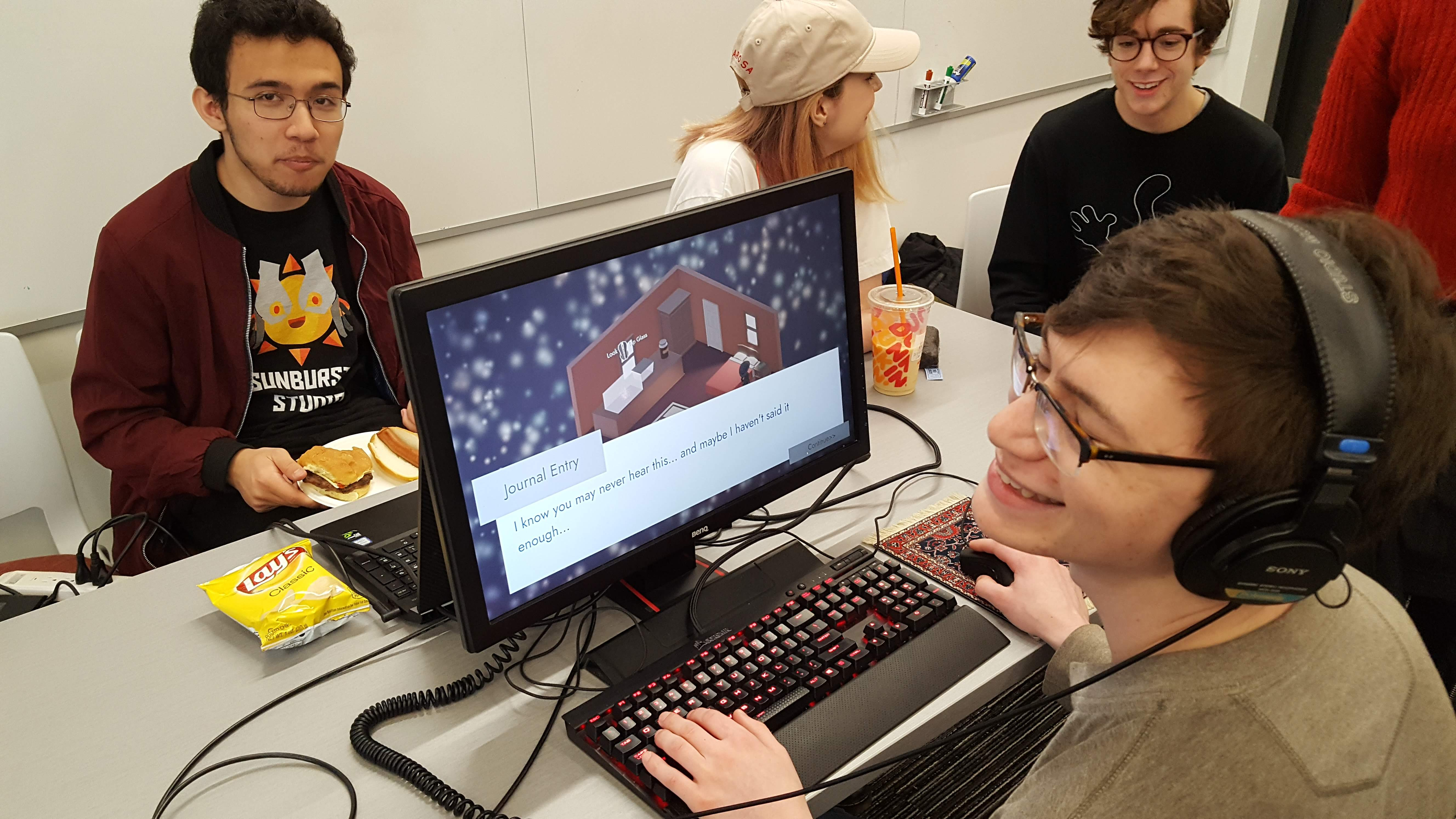 IMGD students playing games at Showfest 2019