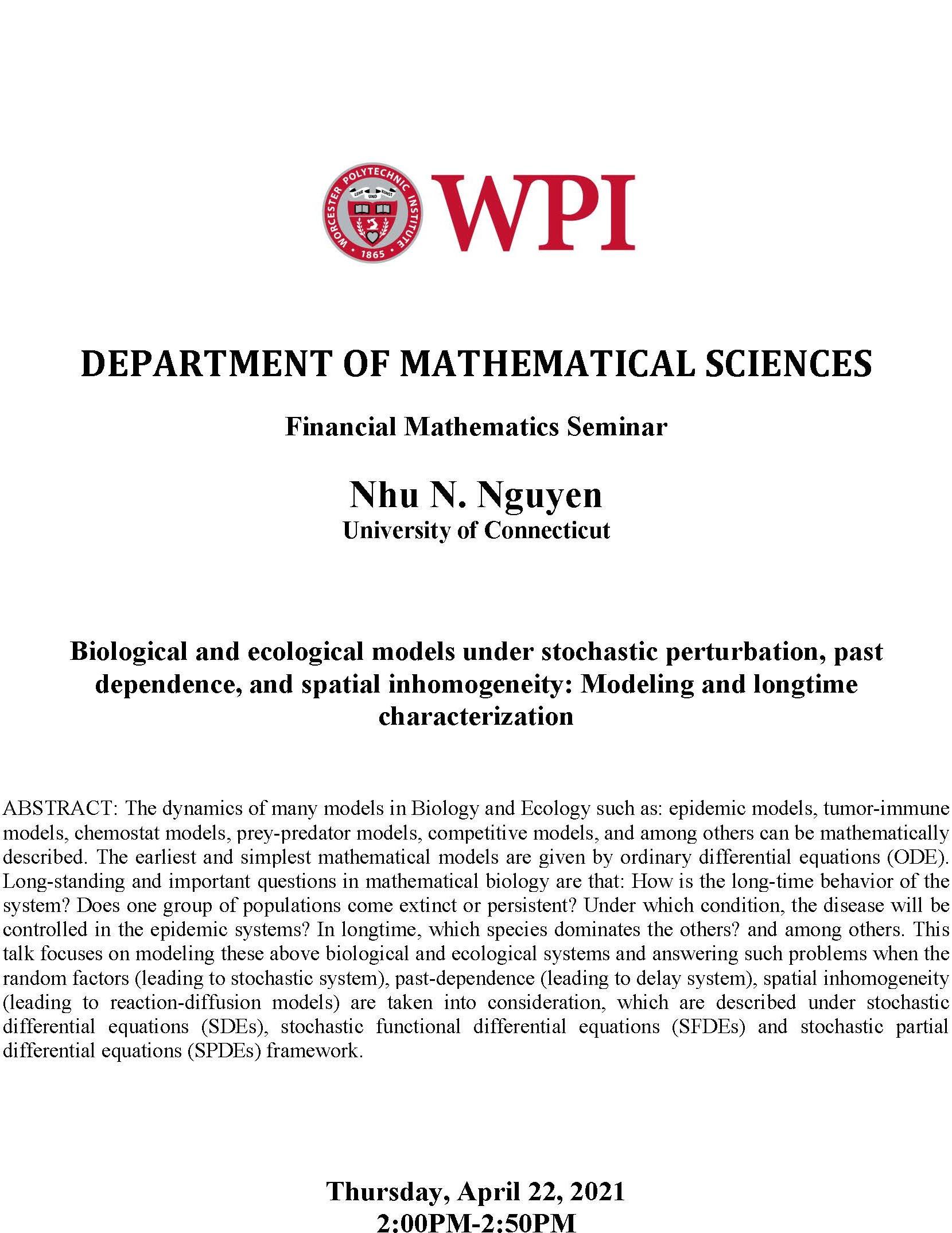 Nhu N. Nguyen Financial Math Seminar