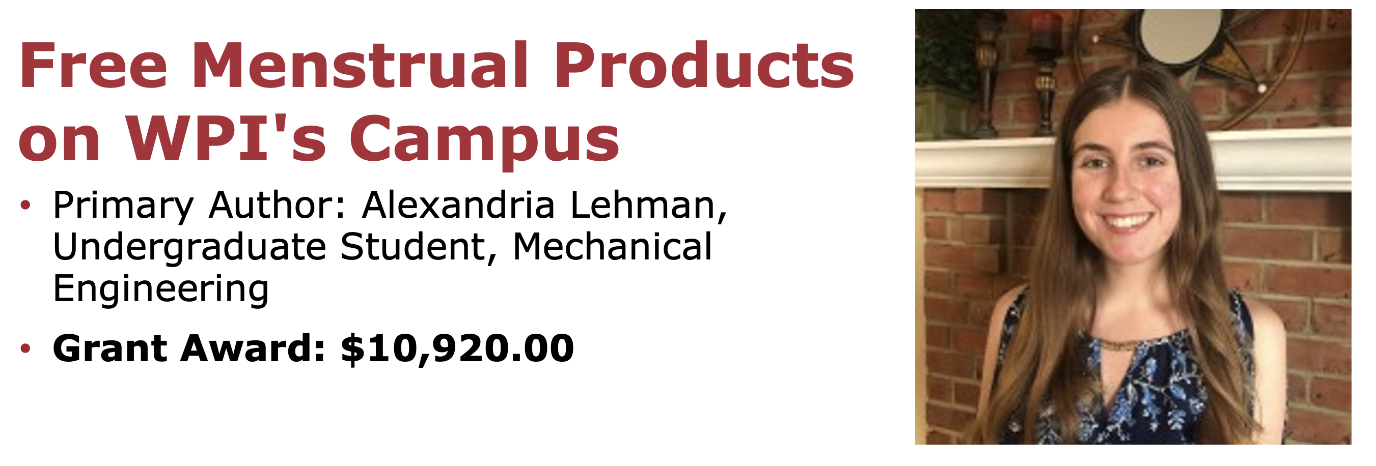 Free Menstrual Products on WPI's Campus