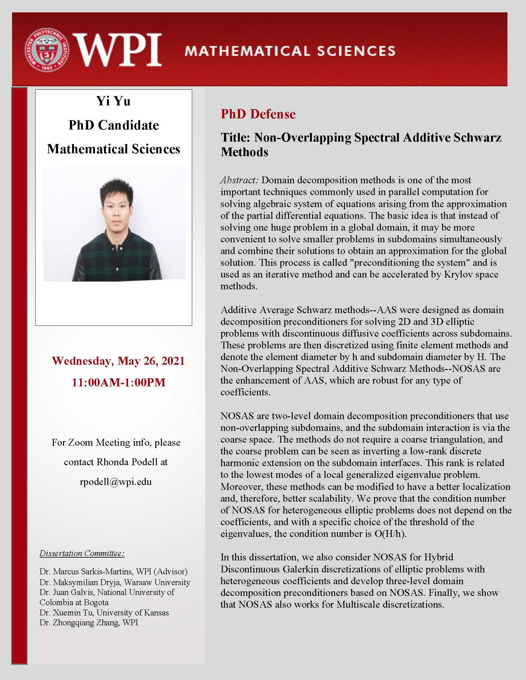 Yi Yu PhD Defense